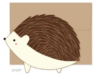 Hedgehog Die Cut Flat Notecard, Hedgehog Card, Happy Mail, Just Because Card, Woodland Notecard, Hedgehog Greeting Card, Cute Kid Card