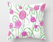Throw Pillow Pink and Green Summer Spring Floral Flower Pattern Feminine Design Pillow Cover Bedroom Decor Couch Living Room Home Decor