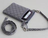 Purse for iPhone 6 or iPhone 6 plus,  Smartphone wallet, Cell phone pouch, Crossbody bag - Free Shipping to U.S. - Gray