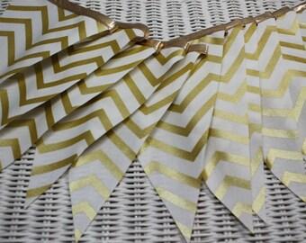 Free USA Shipping/Gold Chevron Fabric Banner/Wedding Banner/Photo Prop/Birthday Party Banner/Nursery Banner/Fabric Garland/Party Decor