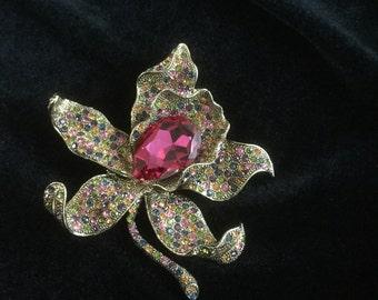 Vintage Rucinni Orchid Rhinestone Large Flower Pin
