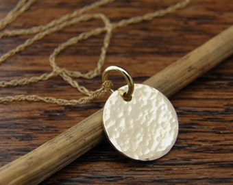 14k Gold Hammered Disc Necklace, Gold Hammered Disc Jewelry, Solid 14K Yellow Gold Disc