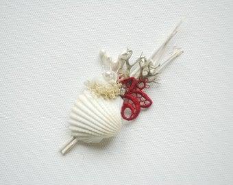Beach Weddings Boutonniere, Sea Shells Beach Red White Grooms Boutonniere, Groomsmen Nautical Boutonnieres, Beach Wedding Accessories
