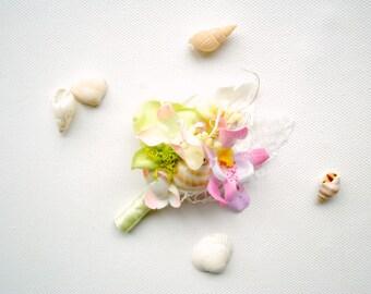 Beach Weddings Pink Green Grooms Orchids Sea Shells Boutonniere, Nautical Hawaiian Weddings Boutonniere, Grooms Groomsmen Orchids Pin,