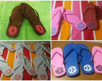 Monogrammed Initial Flip Flop Summer Beach Pool Vacation Shoes Womens