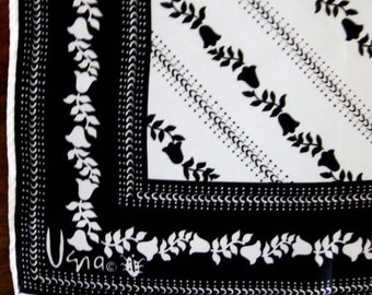 Vintage Vera Lady Bug Scarf Black and White Bell Flower Diagonal Stripe