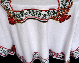 Vintage Christmas Tablecloth Large Holly Berries Bells Ribbon Red Green Gold Oblong 1950s