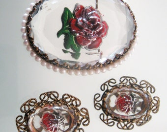 Vintage Brooch Earring Set Crystal Reverse Carved Intaglio Roses Etched Filigree Gold Tone Metal German Clip Ons