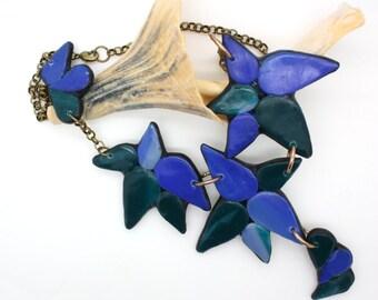 Handmade Chunky statement necklace polymer clay jewelry