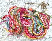 long tassel fringe necklace assemblage cleavage rainbow colorful