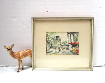 Vintage Paris Street Scene Original Painting Signed by Gazioy or Garioy Fine Art Water Color Matted + Framed Beautiful Gallery Painting