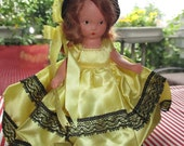 Nancy Ann Storybook Doll Bisque, FREE SHIPPING, Early NASD, Original Outfit, Frozen Leg. Yellow Satin, Black Lace, Redhead