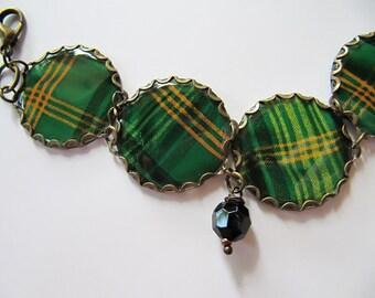 Vintage Tin Charm Bracelet in Green Tartan Plaid with Black and Yellow, Glass Beads - OOAK Handmade Bracelet, Repurposed Jewlery