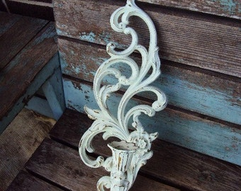 Vintage Shabby Chic Candelabra Wall Sconce Candle Holder Repurposed Distressed Chippy Baroque Rococo Display Syroco