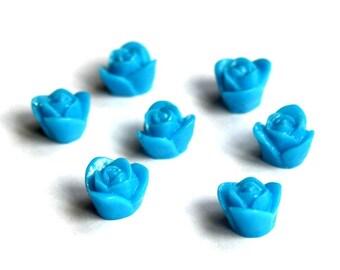 30 pcs 9x8mm Resin Mini Blue Rose Cabochon