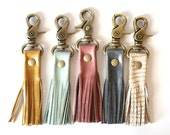 Leather Tassel Keychain - Leather Keychain - Key Fob - Tassel Keychain -