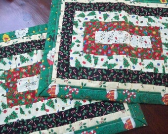 Vintage Home Dining Linens Two Christmas Handmade Quilted Placemats