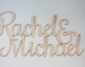 "Bride & Groom Wooden Script Names Wedding Decor Wedding Reception - Large 12"" Unpainted Wood Name - Standard Script Font"