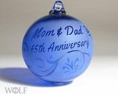 Custom 65th Anniversary Ornament Sapphire Blue