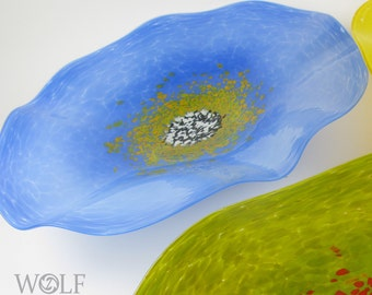 MADE TO ORDER Blown Glass Wall Art Opaque Dutch Blue with Olive Poppy Flower Wall Decor Art Glass Sculpture