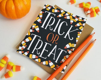 Trick or Treat, Happy Halloween seasonal Folded Note Cards, Autumn, Stationery, Hand Drawn, Illustration, Fall, Notecards, Greeting Cards