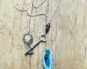 Geode and Skeleton Key Lariat Necklace with teal geode slice, silver plate chain amethyst beads crystal beads boho style purple and blue