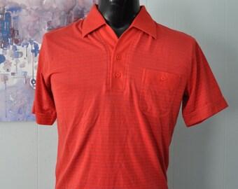 Super Soft Vintage Polo 80s Red Blue Pinstripe Shirt MEDIUM
