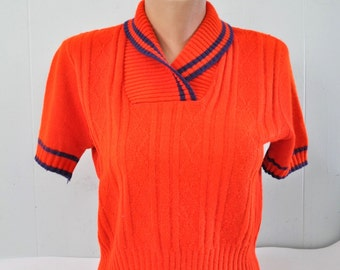 Short Sleeve Sweater Blouse 60s 70s Bright Red Ladies