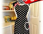 Handmade woman's apron in 1950's theme, sweetheart, full, mid century, pin up, polka dots, Bridal shower, sexy, kitchen, hostess