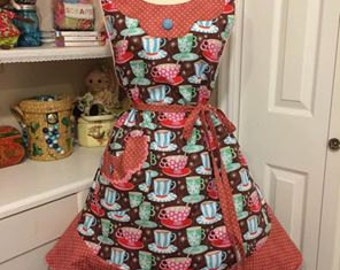 Retro 1930's style woman's full apron Hot Cocoa themed