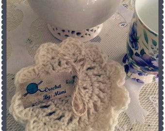 Hand crocheted neutral colors coasters in a Coastal look set of 4