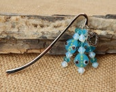 Bookmark  ~  Blue Lamp Work Bead with Heart Book Mark  ~  Blue Beaded Book Mark with Heart