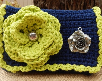 Lime Green and Navy Blue with Rose Pendant Crocheted Cotton Little Bit Purse