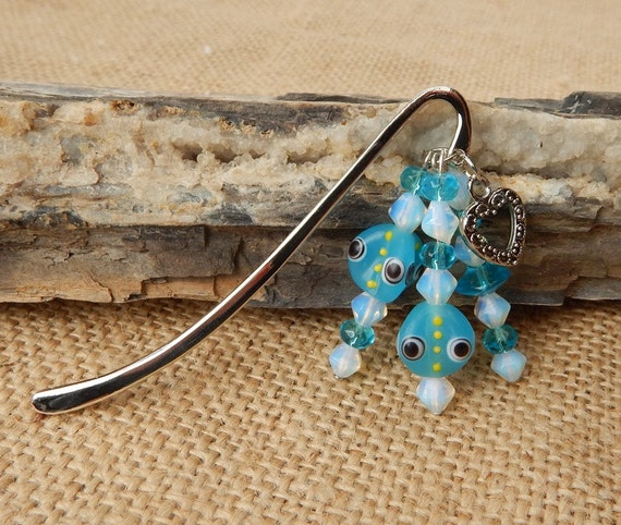Blue Lamp Work Bead with Heart Book Mark  ~  Blue Beaded Book Mark with Heart
