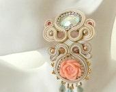 Bridal flower statement earrings , pink cream wedding  earrings , vintage cabochon bride earrings , one of a kind , oversized