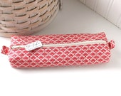 Red Floral Cute Pencil Case Boxy Pouch Red and White Zipper Pouch