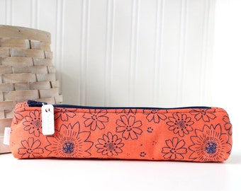 Small Coral Pencil Pouch Skinny Pencil Case Cute Pencil Case Floral Purse Organizer