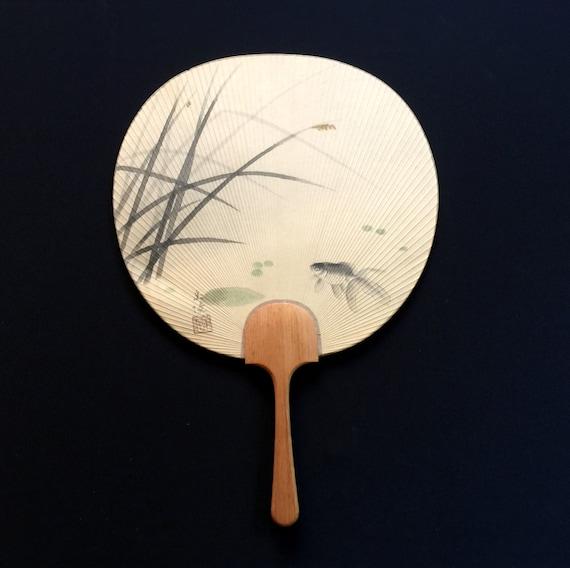 Japanese paper fan large size paddle fan fish uchiwa - Japanese paddle fan ...