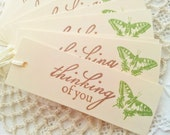 Thinking of You Green Butterfly Gift Tags Set of 10