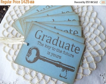 SALE Graduation Tags, School Tags, Key to Your Future, Best Wishes, Party Tags, Graduation Gift Tags Blue Set of 6