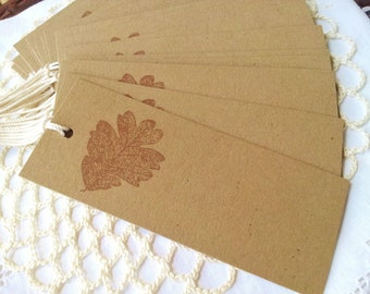 SALE Rustic Wedding Leaf Gift Tags Wedding Place Cards Autumn Fall Thanksgiving Labels Kraft Paper Set of 10
