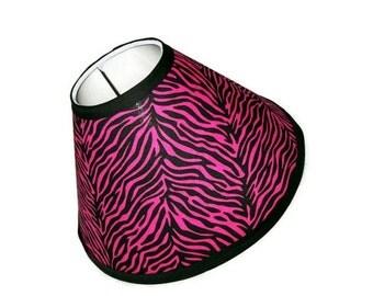 BACK TO SCHOOL Hot Pink Zebra Print Lamp Shade with black trim
