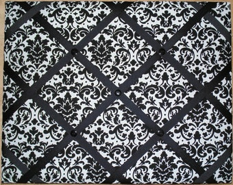 Black and White Damask French Memo Board - 16 x 20-Damask Bulletin Board, Damask Tack board, Damask french memory board, Damask memo board