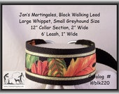 Jansmartigales  Black Large Whippet, Small Greyhound, Martingale Collar Leash Combination  wblk220