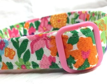 1998 Lilly Pulitzer Pink Flowers Fabric Dog Collar