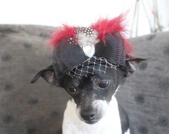 Cute  black color  hat with     flowers and  feather  for dog or cat