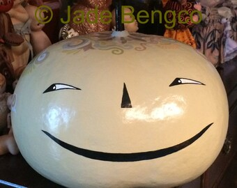 PAISLEY PUMPKIN Large Handpainted Halloween Gourd O-O-A-K