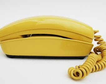 1980 Yello Bell Trimline Touch Tone Tabletop Phone