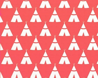 Nap Mat - Monogrammed Coral Teepees Nap Mat with a Navy Minky Dot Blanket