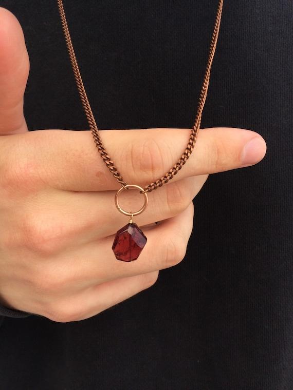 Garnet Unisex Necklace - Protection